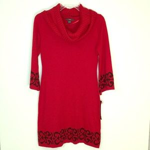 R & K Red Sweater Dress W/ Removable Collar